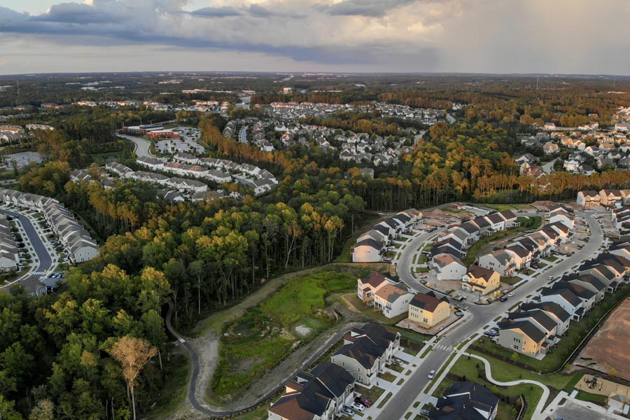 Louisburg, NC Insurance - Overhead View of Suburb Homes with an Overcast Sky